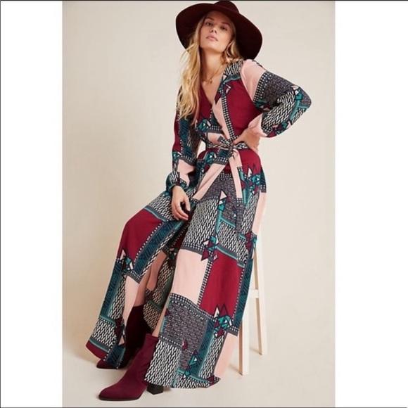 NWT Anthropologie Virginia Wrap Maxi Dress